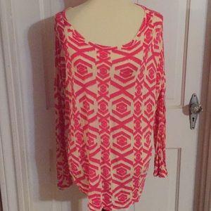 Fantastic Fawn Pink Batik 3/4 Sleeve Top. Sz XL